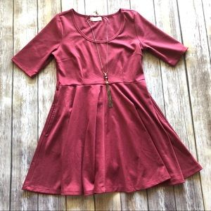Altar'd State Fit and Flare Dark Pink Dress